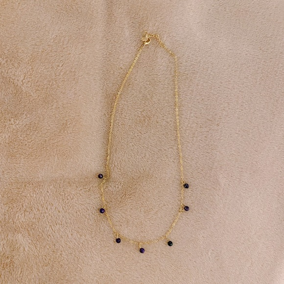 Brandy Melville Purple Beaded Gold Ball Necklace